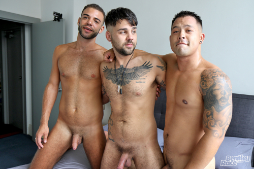 Hairy chested tattooed young hunks with soft dicks