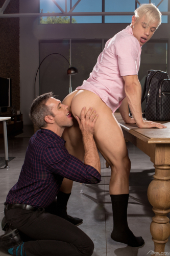 Office dude licks his office boys bare bubble butt
