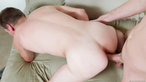 Young dudes ass cheeks parted by huge raw dick