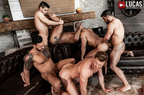 Gay orgy 6 sexy muscle hunks fuck fest
