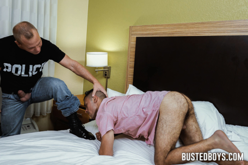 Bound hairy ass hunk licks policeman's boots