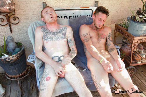 Young tattooed studs wank their dicks to a big orgasm